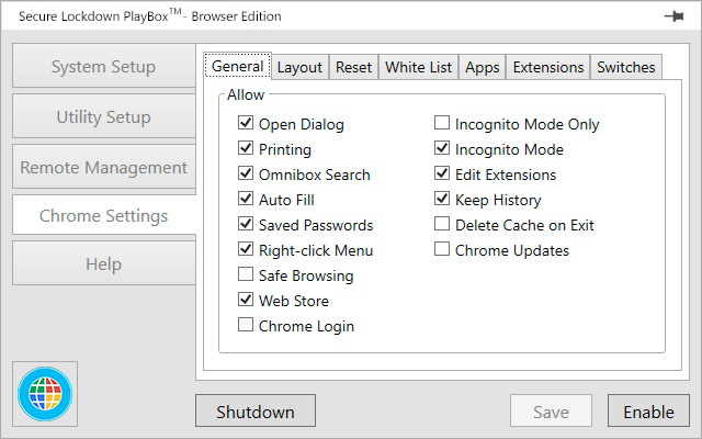 Inteset PlayBox Chrome Settings - General