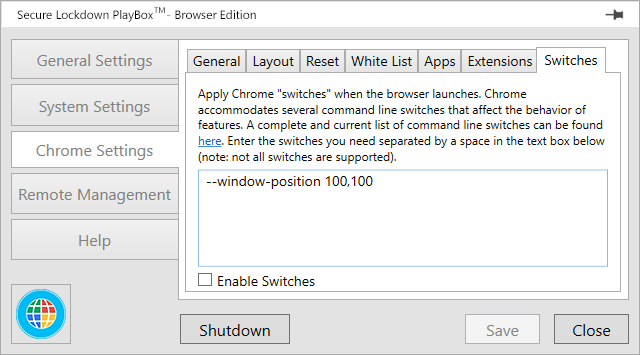 Inteset PlayBox Chrome Settings - Switches